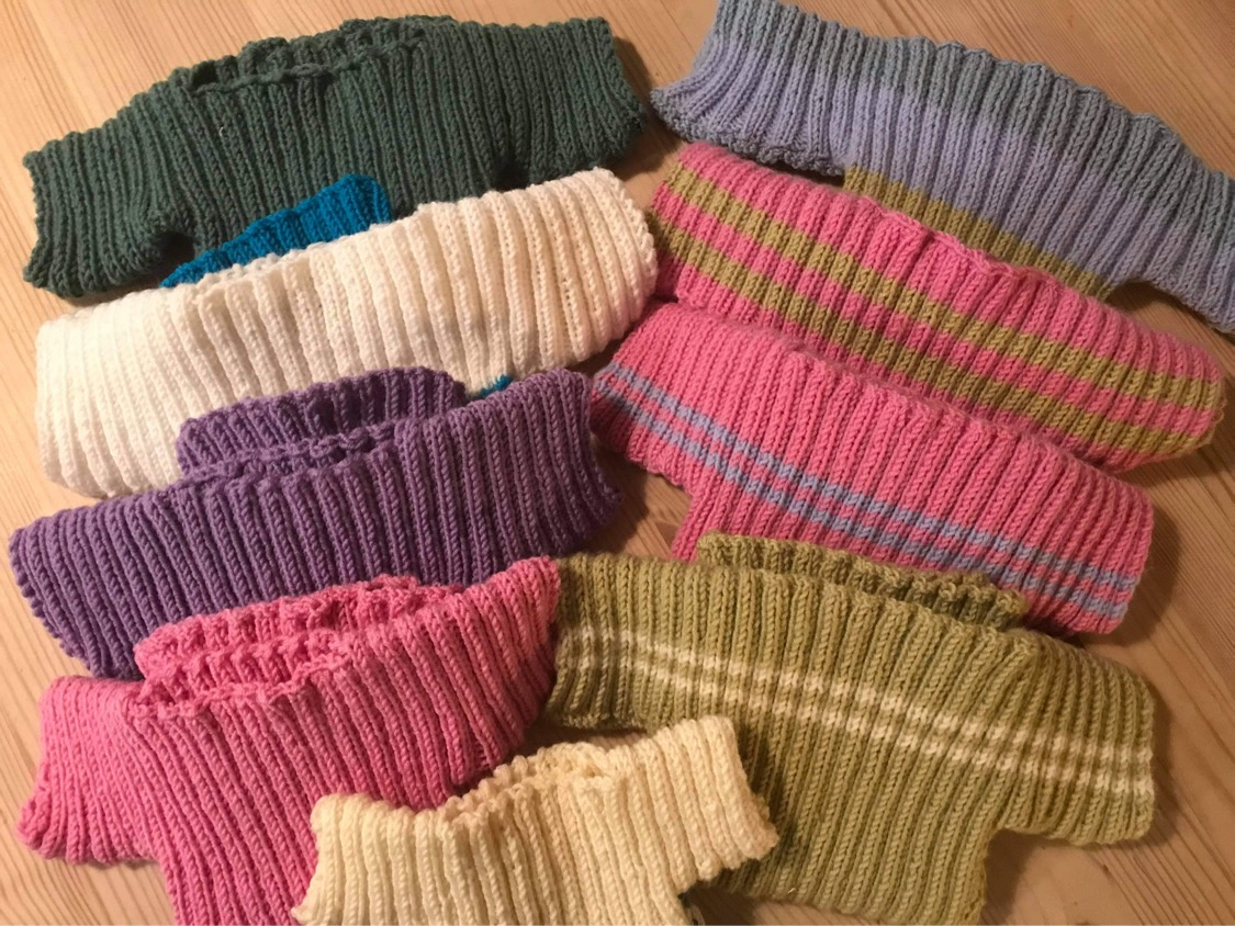 Colorful selection of knit-work