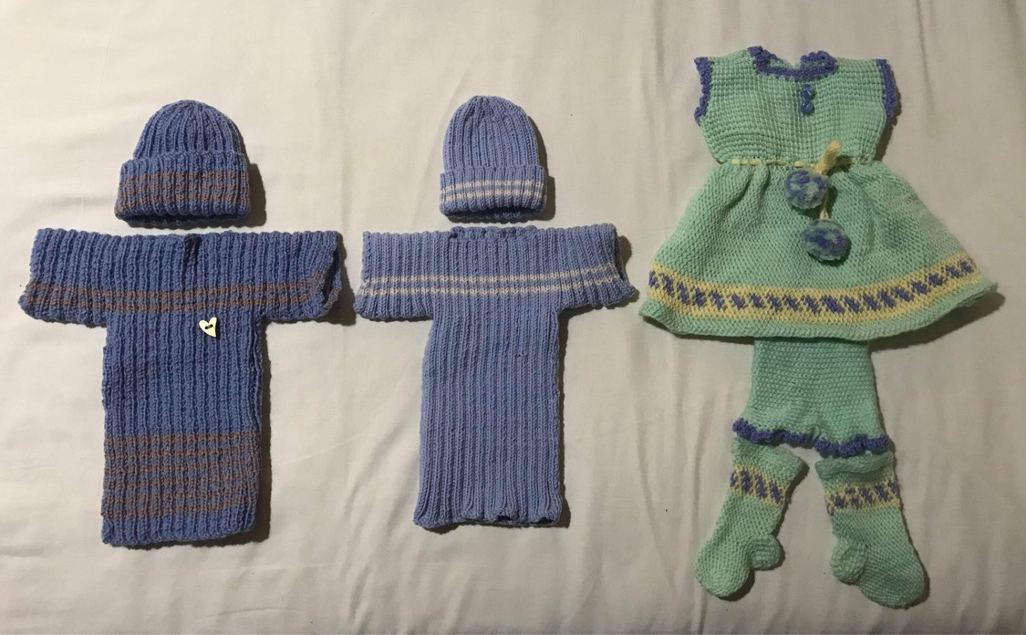We even have had knitted dresses. We don't have a recipe for those, but they are most welcome.