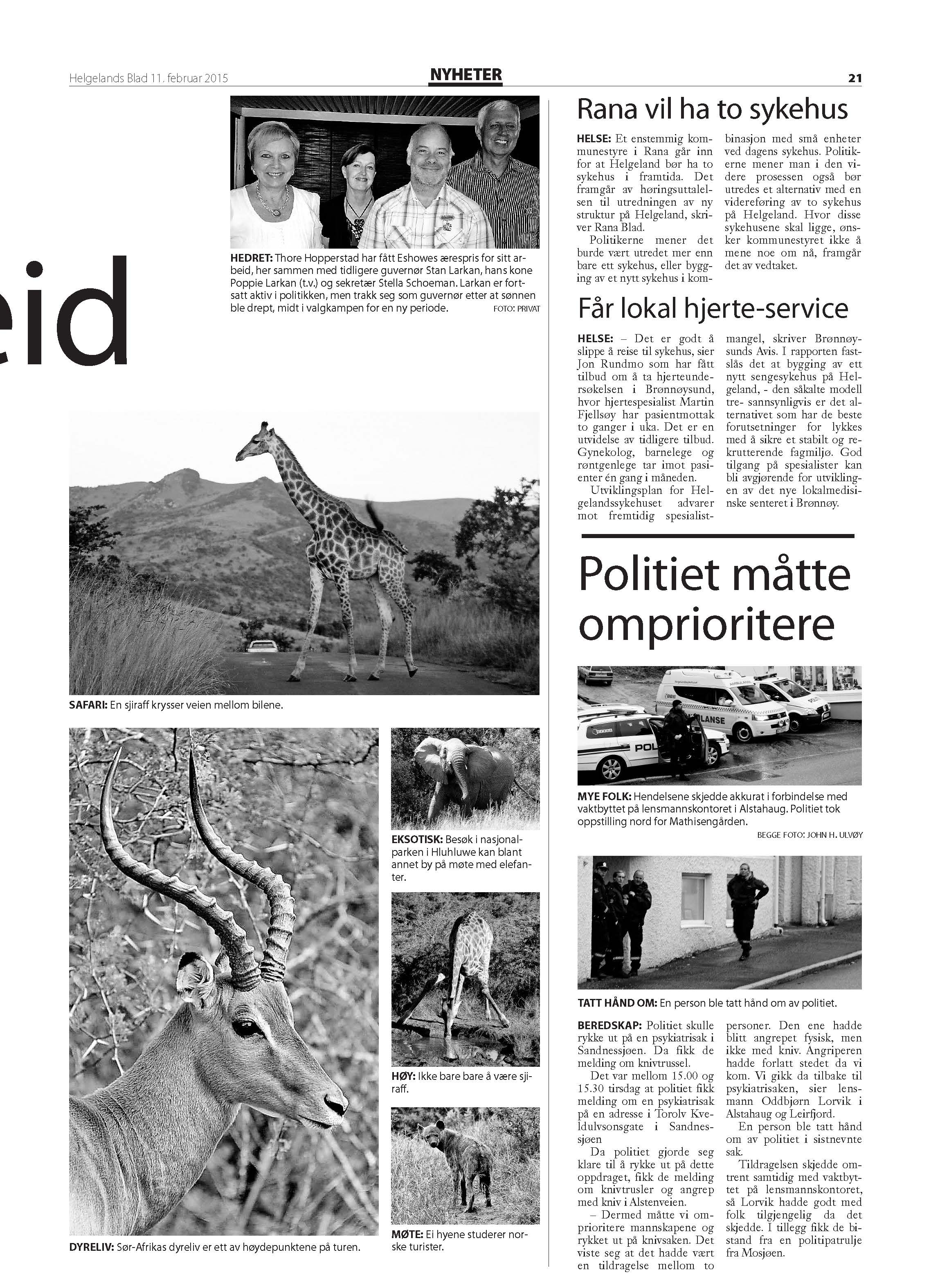 4-pages news article in Helgelands Blad, Norway in 2015, p4