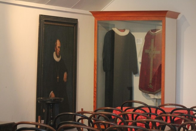 Part of the exhibition inside the Norwegian Church
