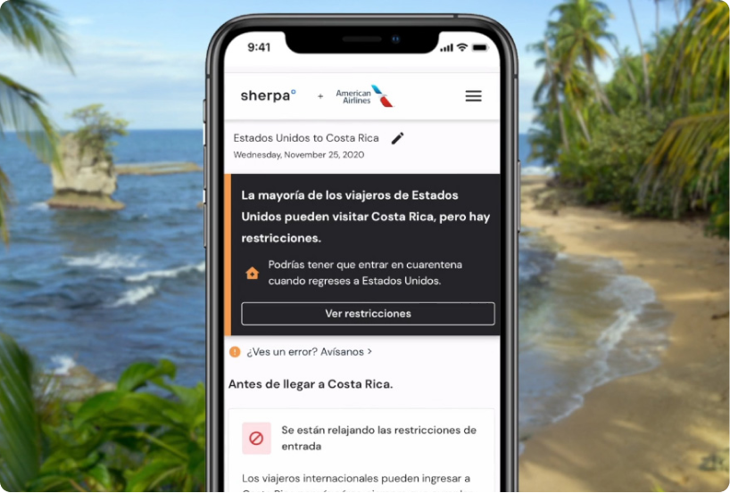 Sherpa travel guide now available in Spanish on American Airlines