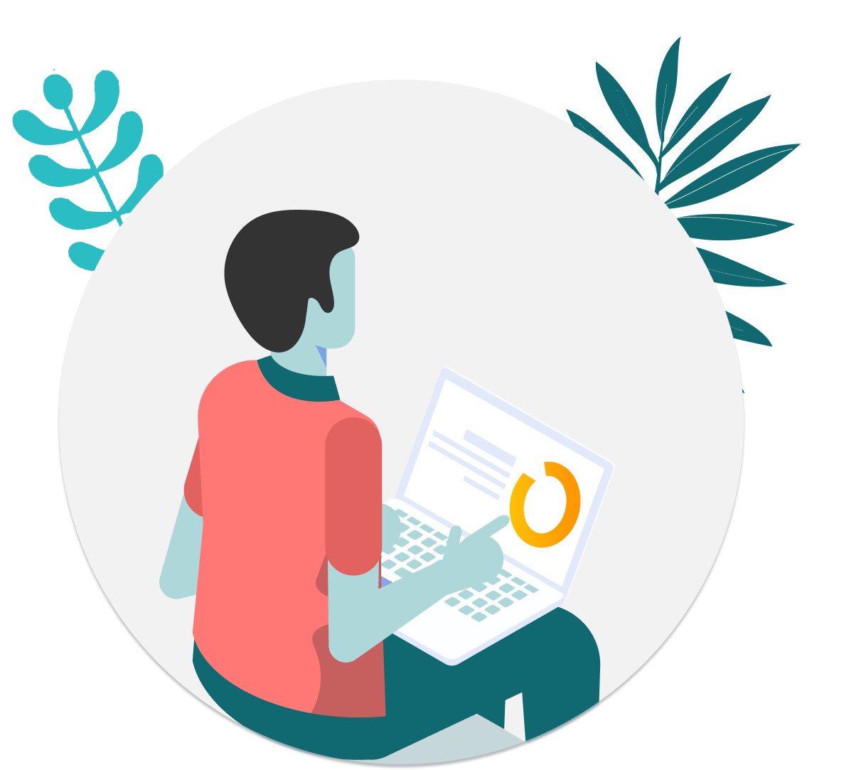 Illustration of a person with an open laptop with a security dashboard