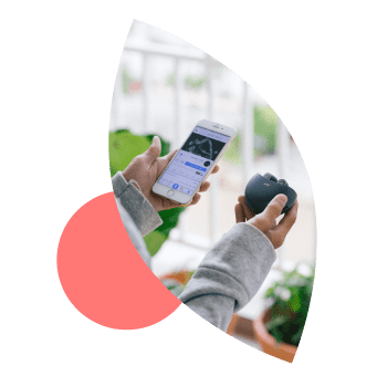 Person holding a cell phone and earbuds imposed over a leaf illustration