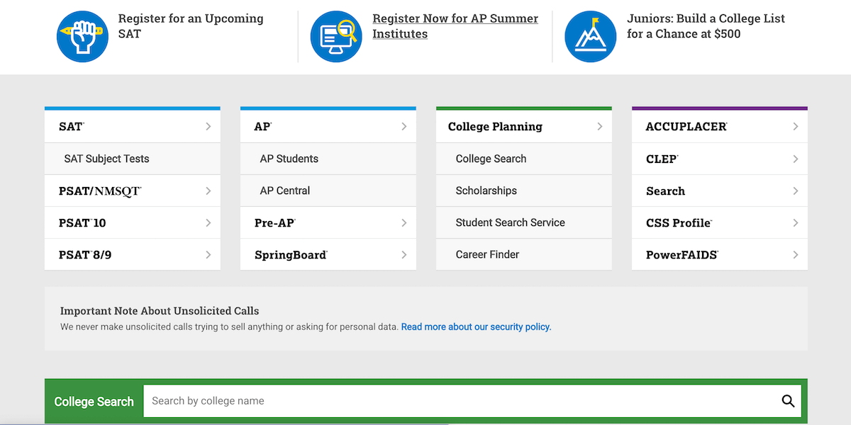 Screenshot of a section of the CollegeBoard/SAT website