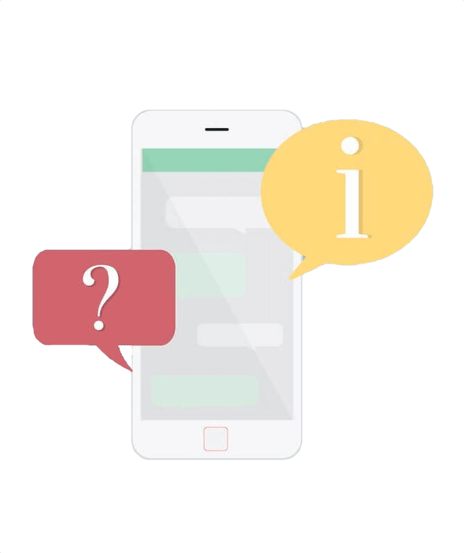 """Graphic of a smartphone with a question mark in a red speech bubble and an """"i"""" for information in a yellow speech bubble."""