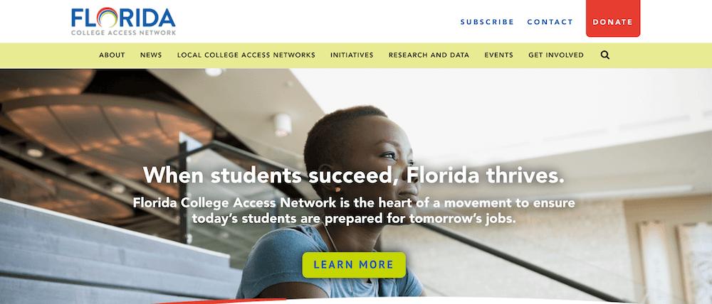 Screenshot of the Florida College Access Network website