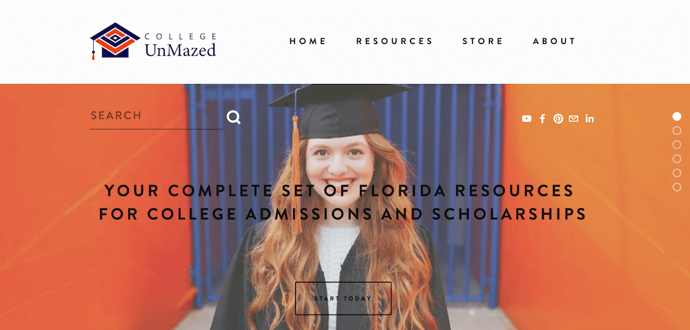 Screenshot of the College UnMazed home page.