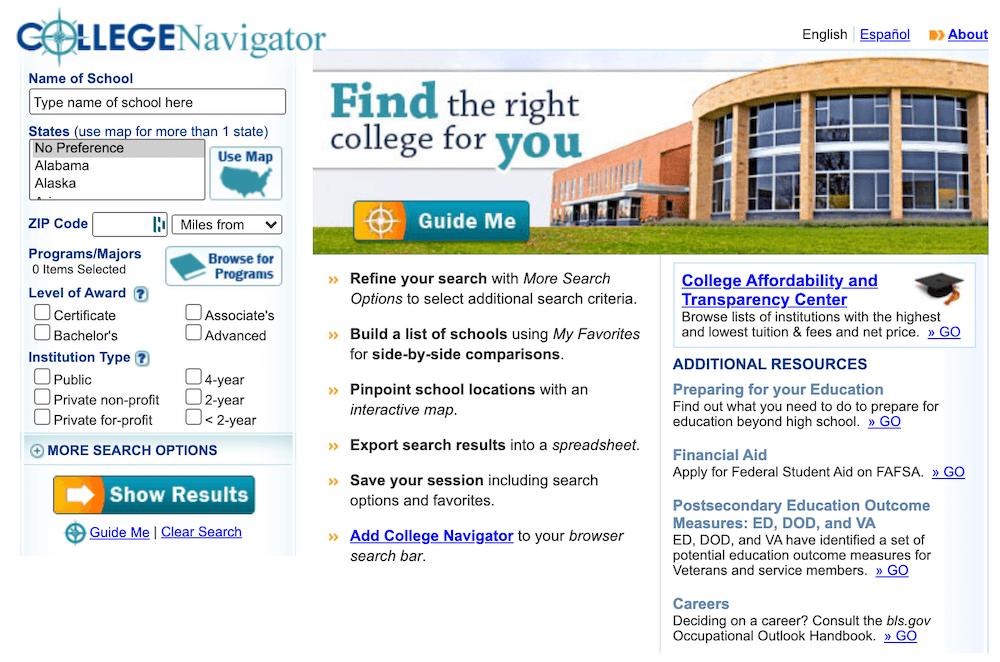 Screenshot of the College Navigator homepage