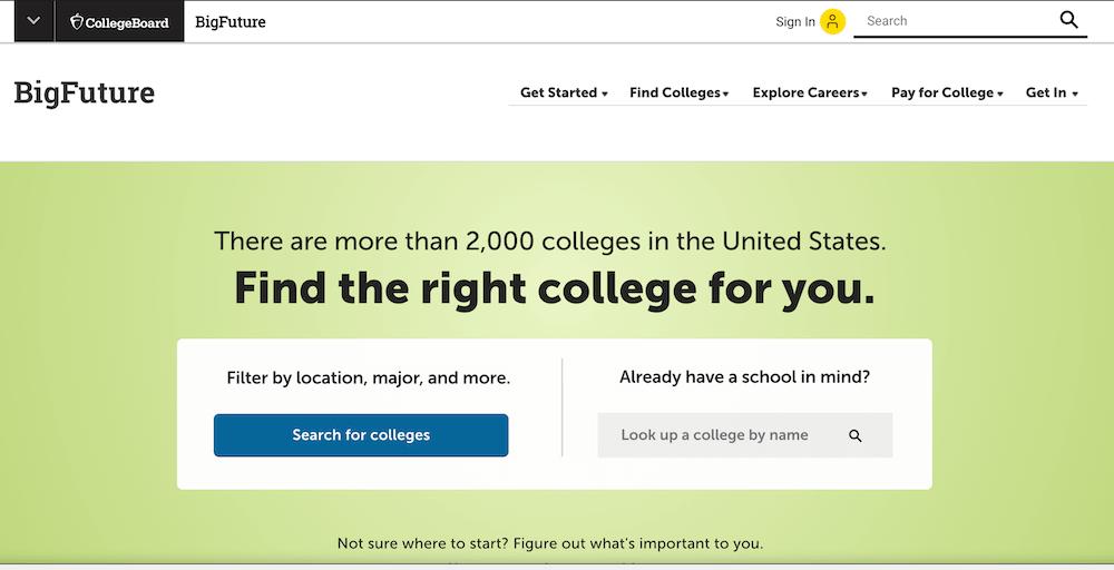 Screenshot of the BigFuture site by CollegeBoard
