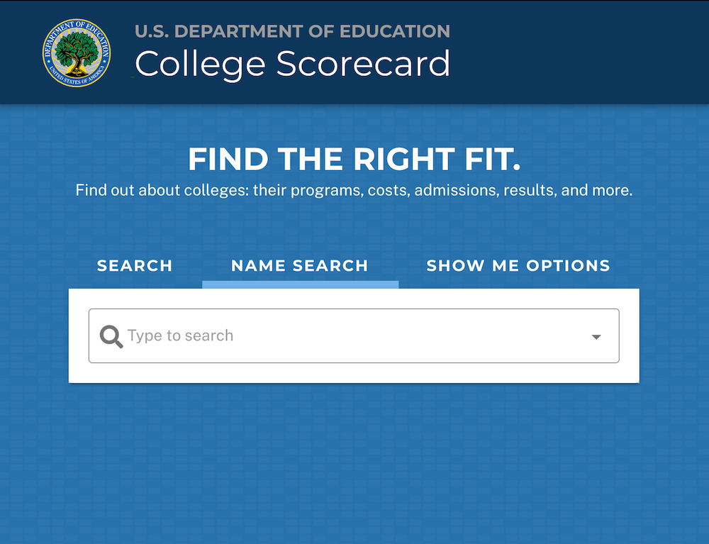 Screenshot of the College Scorecard web page by the Florida Department of Education