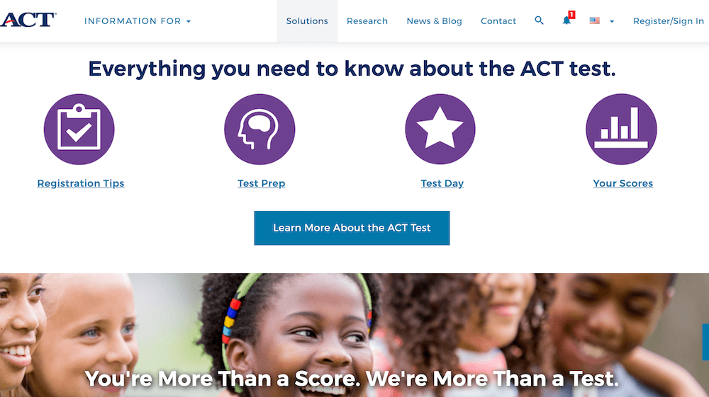 Screenshot of the ACT home page.