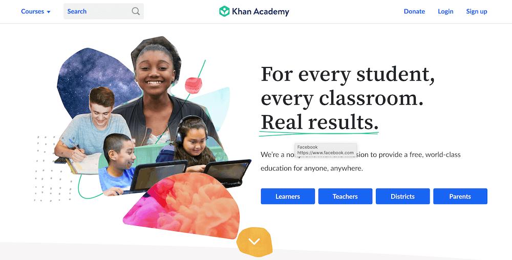 Screenshot of the Khan Academy website home page