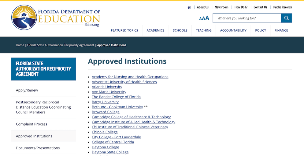 Screenshot of the FLDE Approved Institutions web page.
