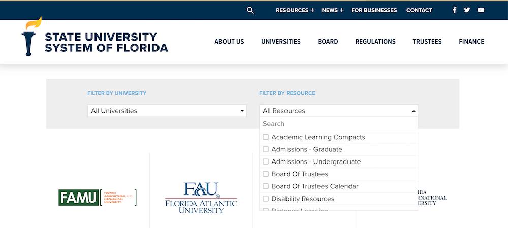 Screenshot of the flbog.edu website