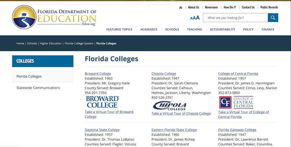 Screenshot of the Florida Department of Education's Florida Colleges page