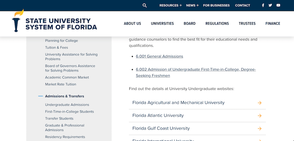 Screenshot of the Undergraduate Admissions page on the State University System of Florida website.