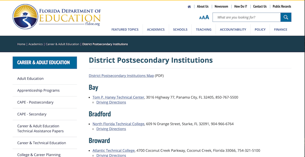 Screenshot of the District Postsecondary Institutions page of the Florida Department of Education website