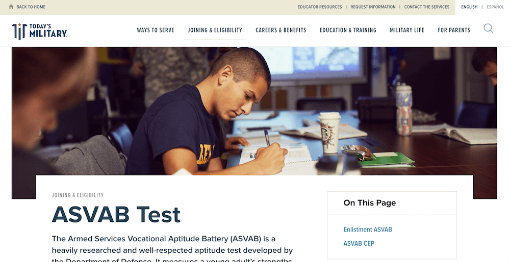 Screenshot of the Today's Military ASVAB Test information page