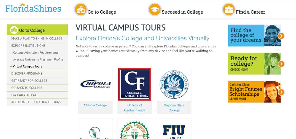 Screenshot of the Florida Shines Virtual Campus Tours page