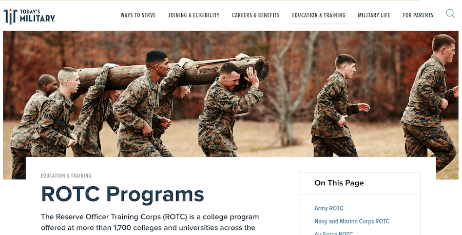 Screenshot of Today's Military Web page about ROTC Programs