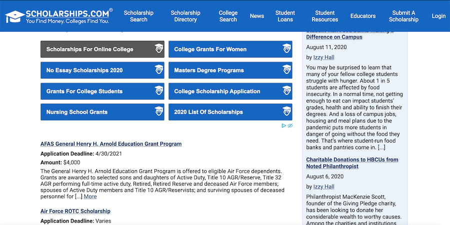 Screenshot of Scholarships.com's military scholarships page