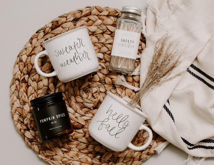 Hand Lettered Coffee Mugs, Travel Mugs, Candles, and more!