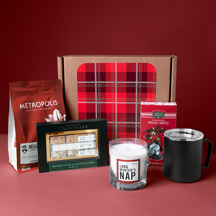 Spoil your team with a unique variety this season. Coffee and a camp mug pair well with assorted truffles. Latte & cocktail cubes can complement the coffee, or be saved for an after-dinner treat alongside a seasonal candle.