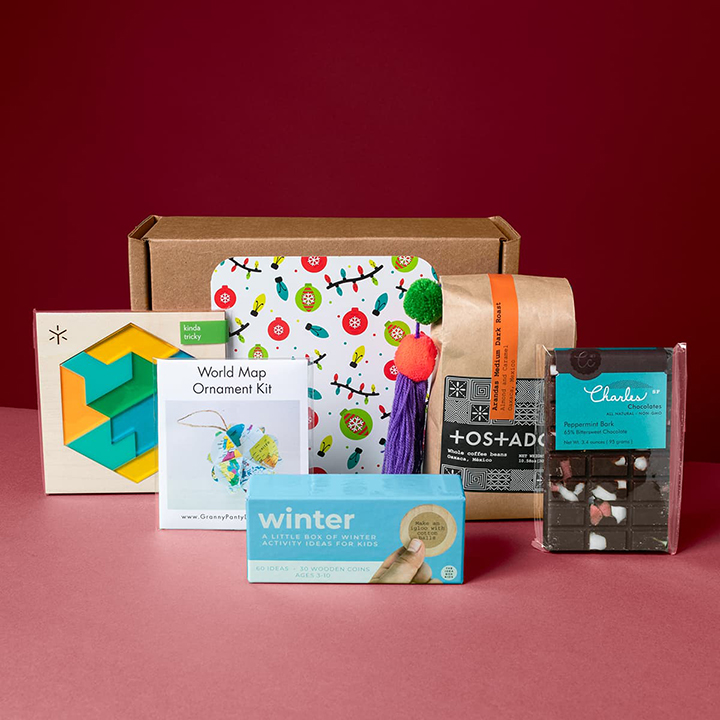 The gift that keeps on giving. This box features an assortment of family-friendly activities, including an ornament kit, a wooden puzzle, and activity coins. Add in some coffee and chocolate, and everyone involved will have energy for days! Less consumables, more ongoing fun.