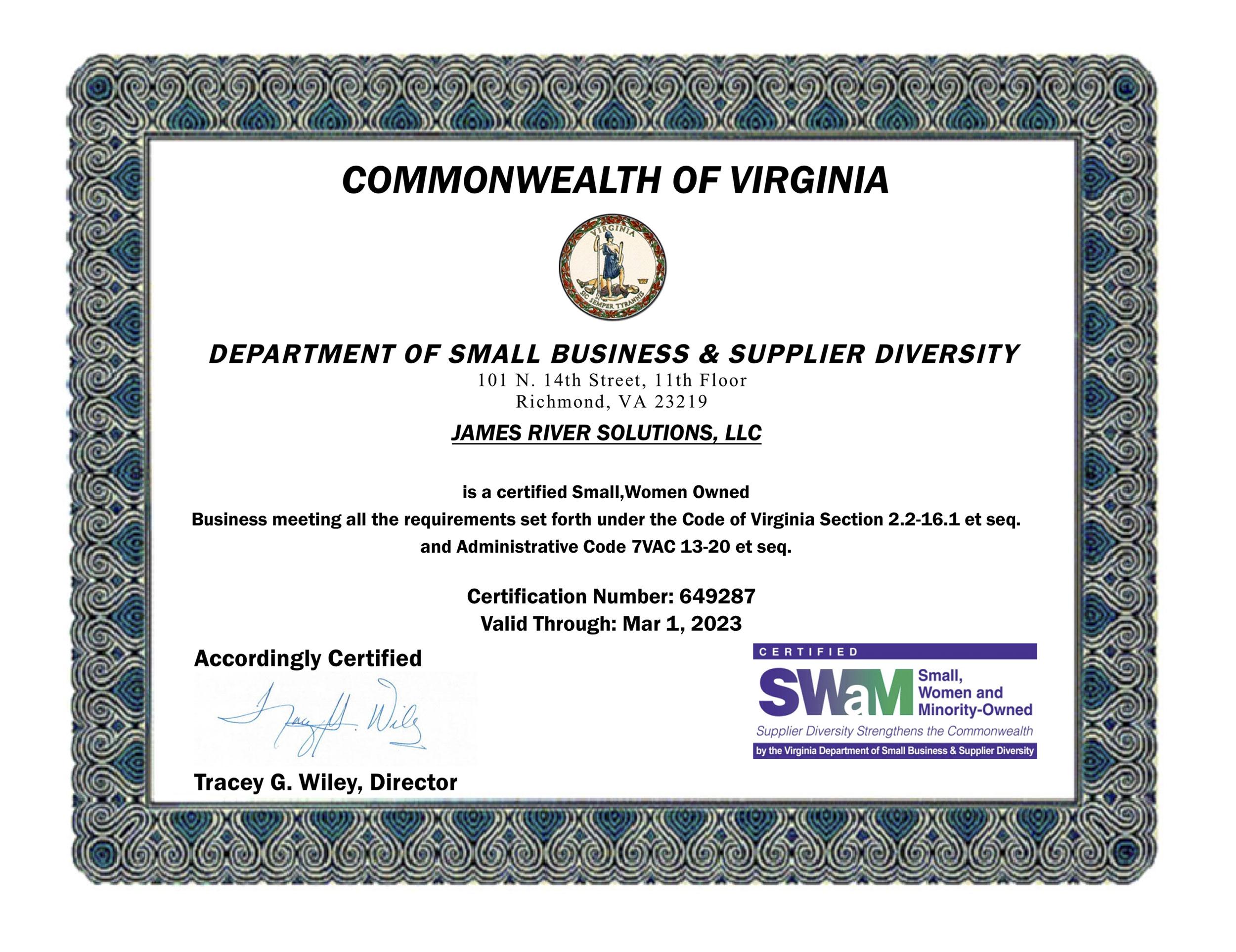 JRS SWaM Certificate