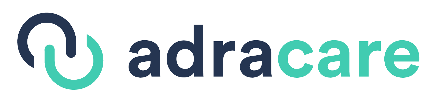 Dark Blue and Green Adracare logo