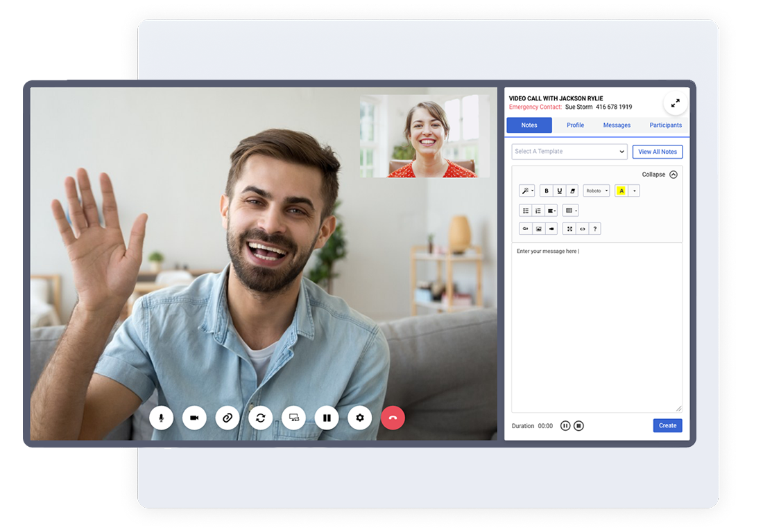Man waving at woman through online video session. Woman smiling back.