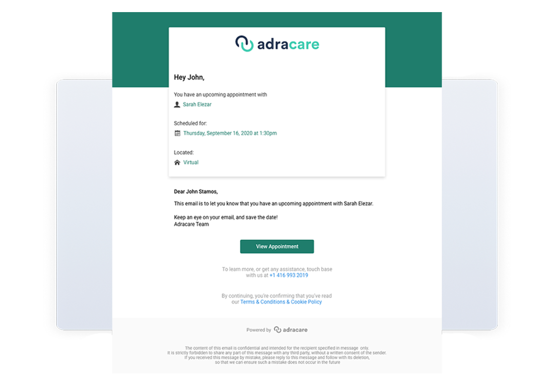 Adracare Patient Automated Reminders Email