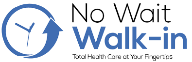 Blue and Black No Wait Walk-in Logo