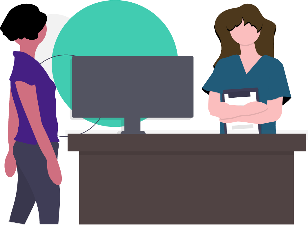 illustration of 2 women standing at a desk