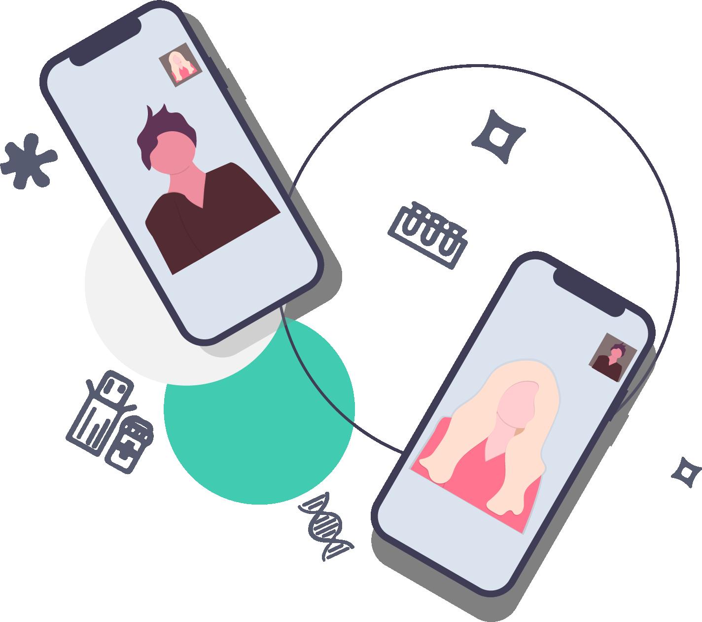 illustration of 2 phones