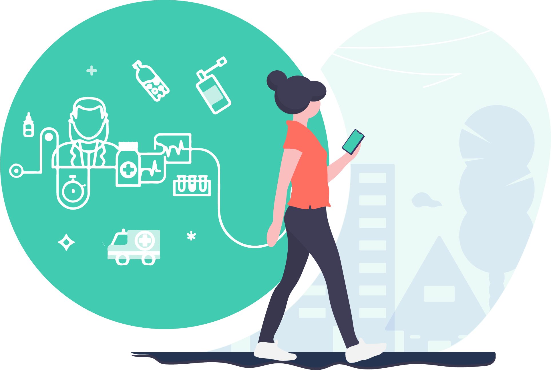 illustration of woman walking with cellphone