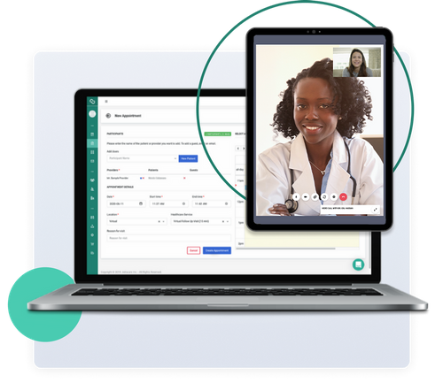 A laptop with Adracare New Appointment dashboard and tablet with a healthcare professional and patient
