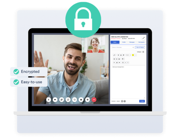 Hipaa Pipeda HD online video chat with a man waving to a woman who is smiling.