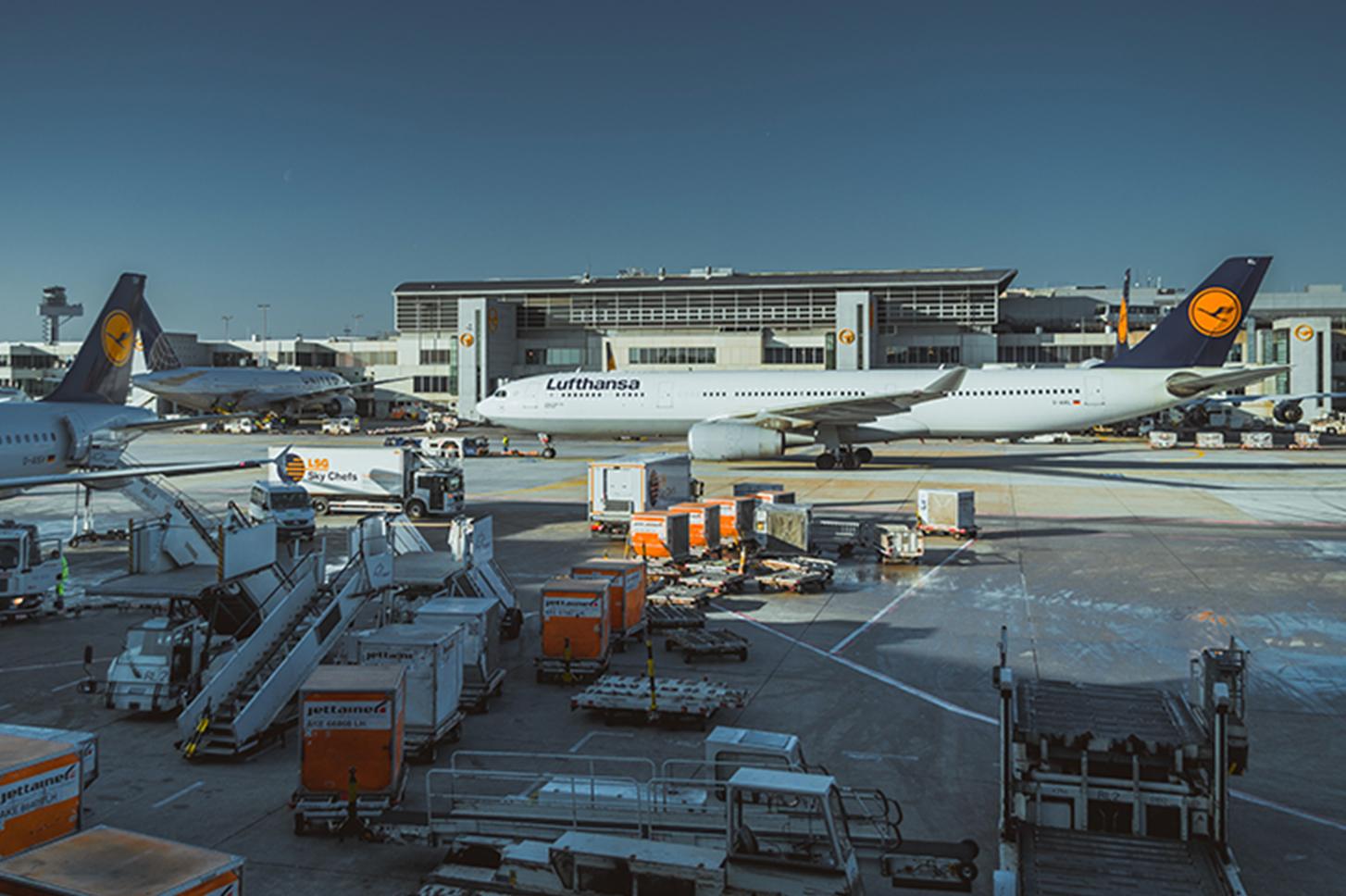Lufthansa planes in Frankfurt Airport tarmac.