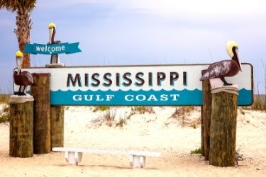 Welcome Sign of Mississippi Gulf Coast beach