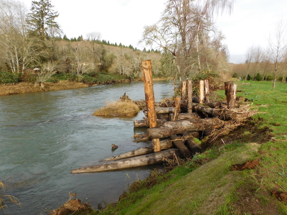 Log structure to prevent erosion on Grays River