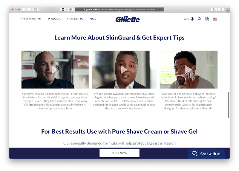 gillette video business page