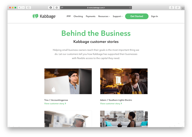 kabbage business and investment with client videos