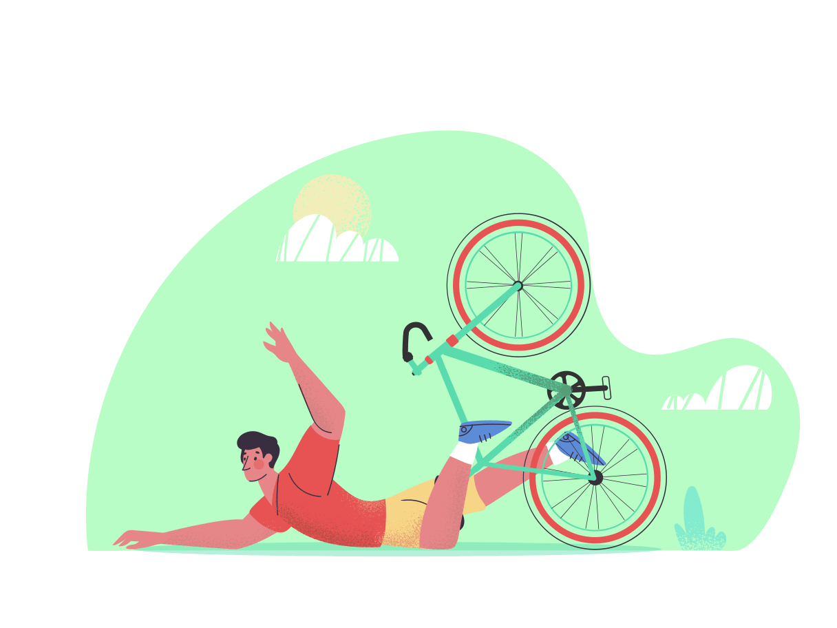 Illustration of a person falling off a bicycle.