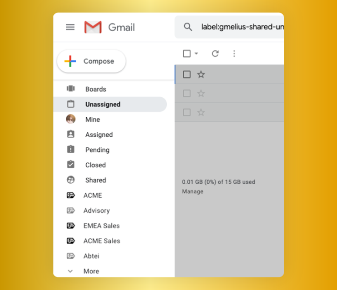 Image showing Gmelius features within the left hand pane of the Gmail inbox. This image show the assignment of emails.