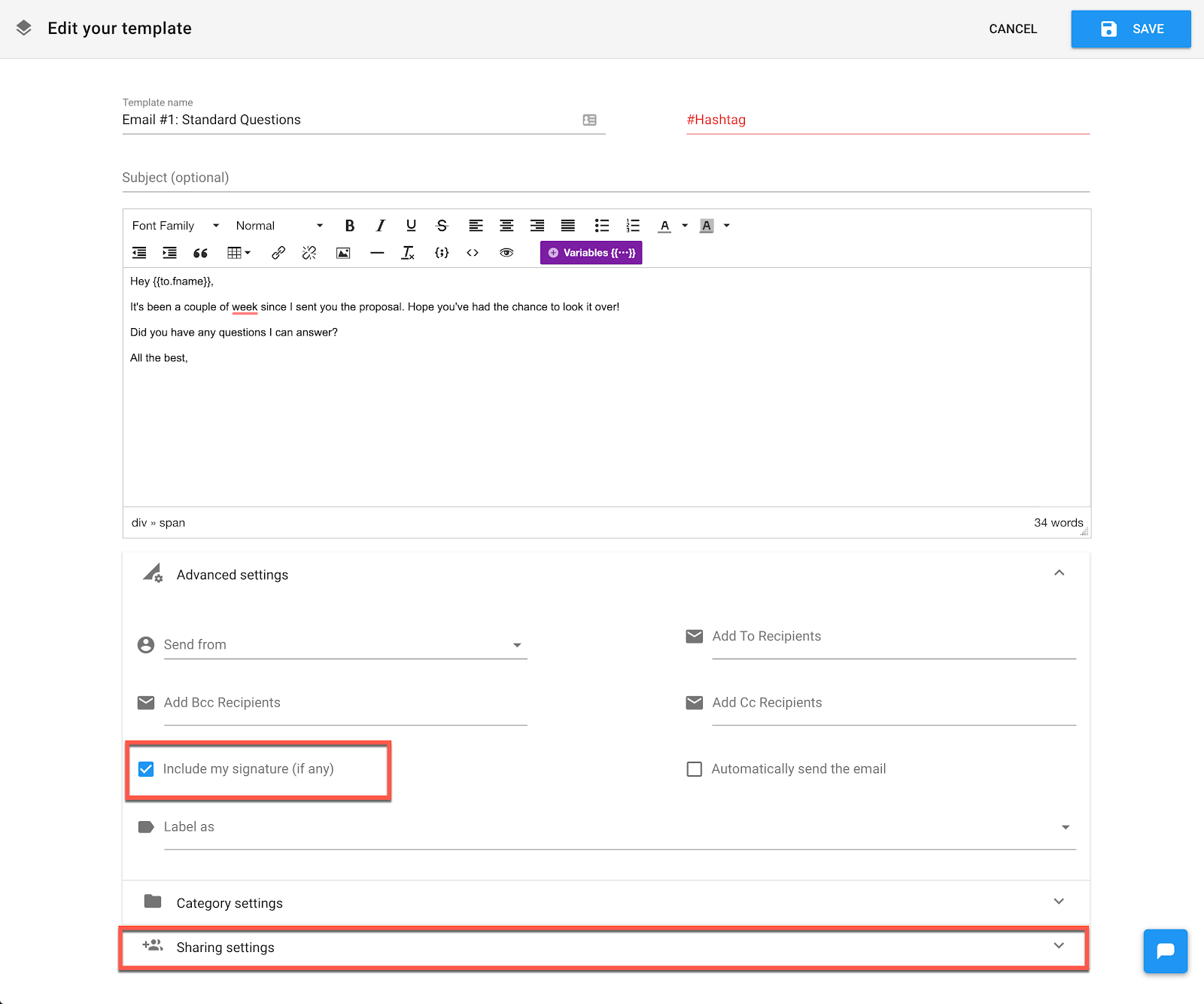 Email Automation: Type the email into the editor.