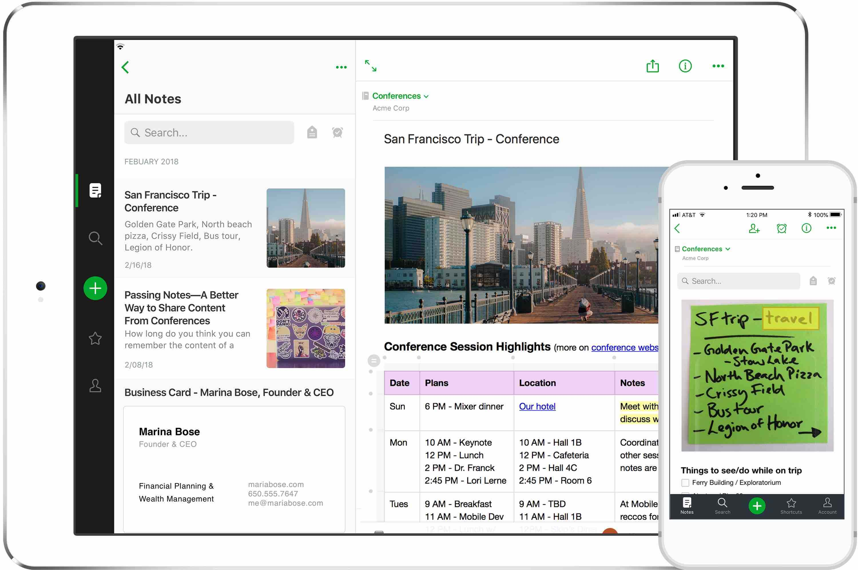 Image of Evernotes, note taking app on web and mobile.