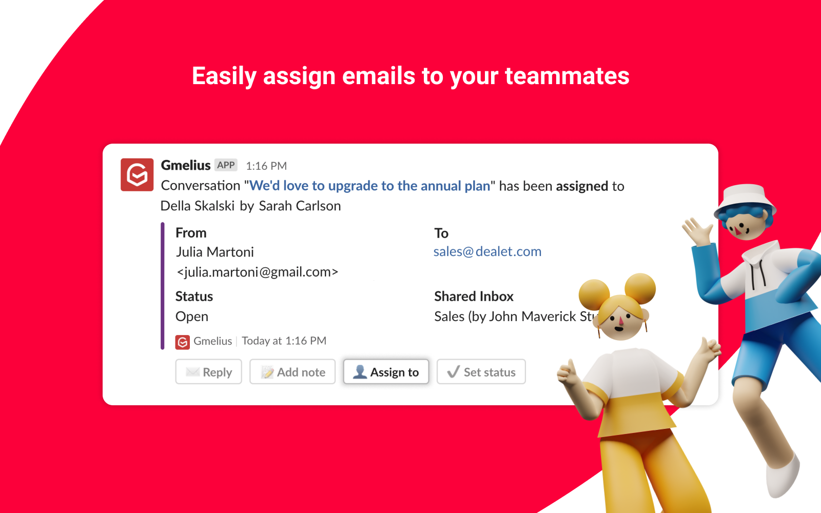 Gmelius assign emails from Slack