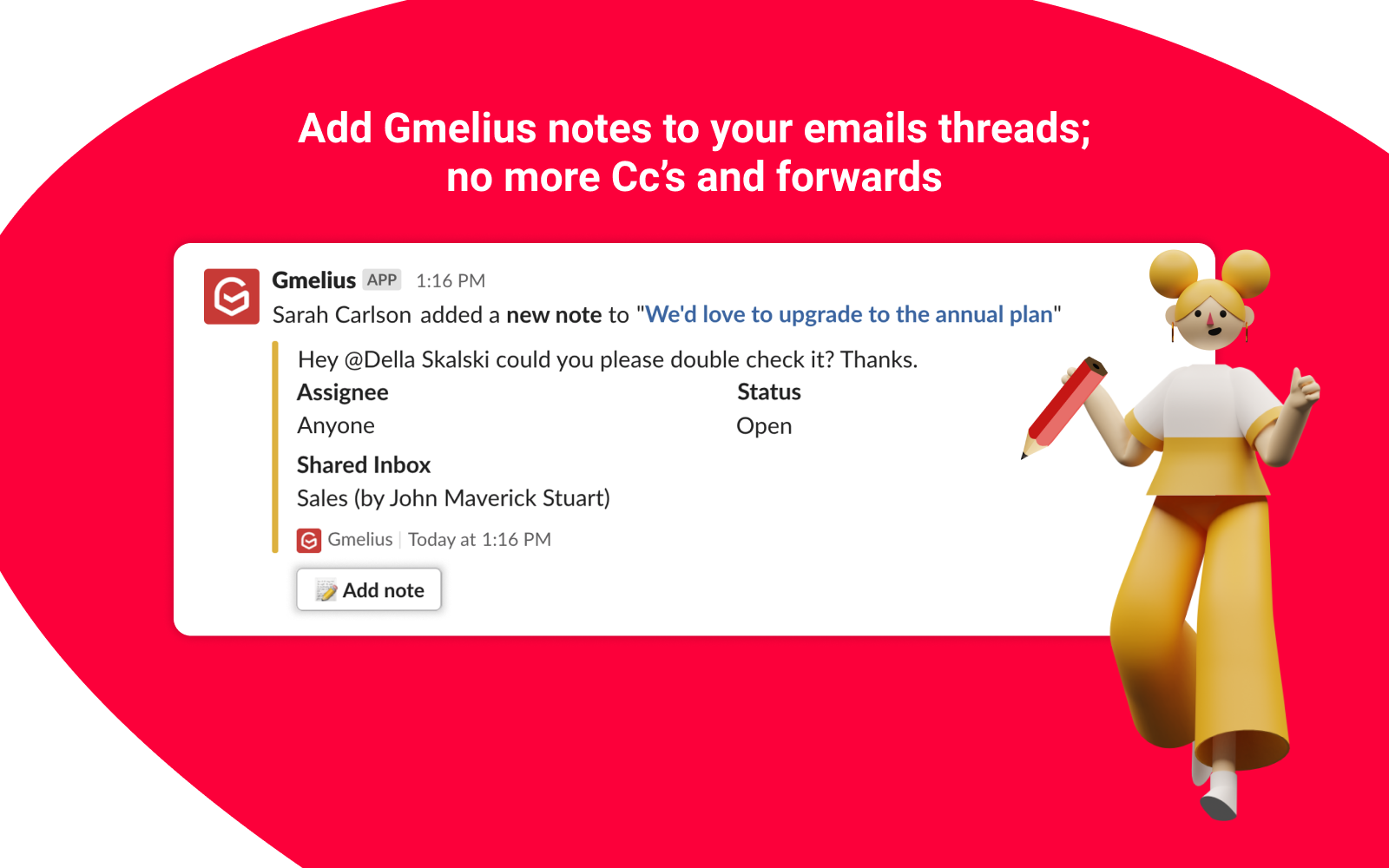 add Gmelius notes in Slack