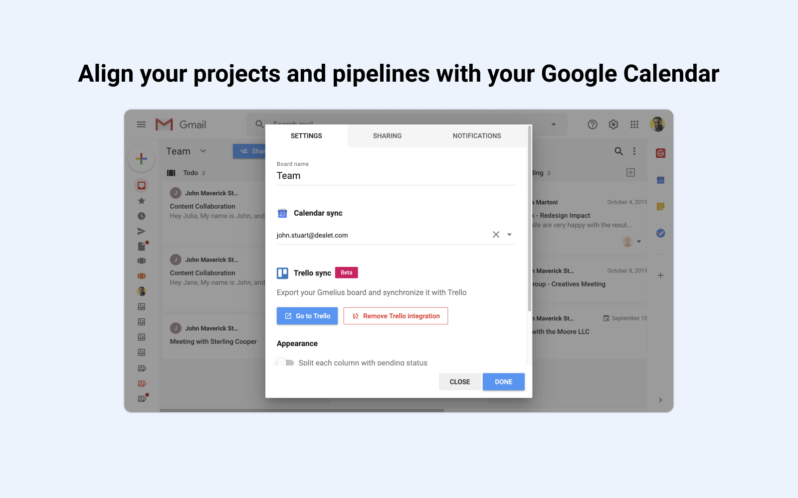 Align projects with Google Calendar